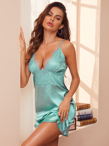 Contrast Lace Satin Cami Night Dress