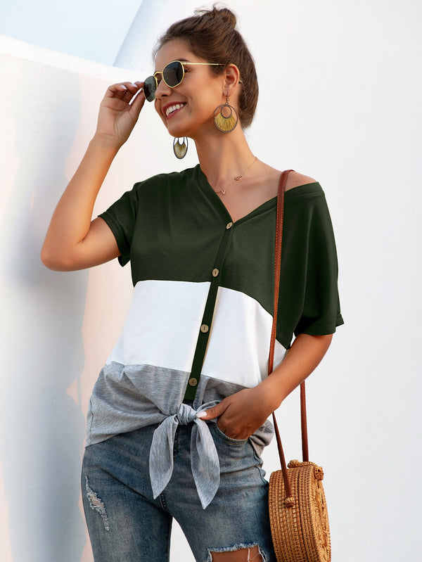 Button Up Knot Hem Color Block Tee