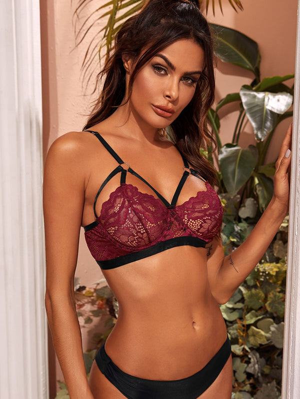 Floral Lace Underwire Sheer Bra