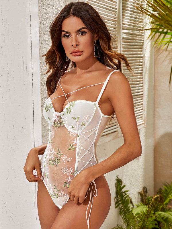 Floral Embroidered Mesh Lace-up Teddy Bodysuit