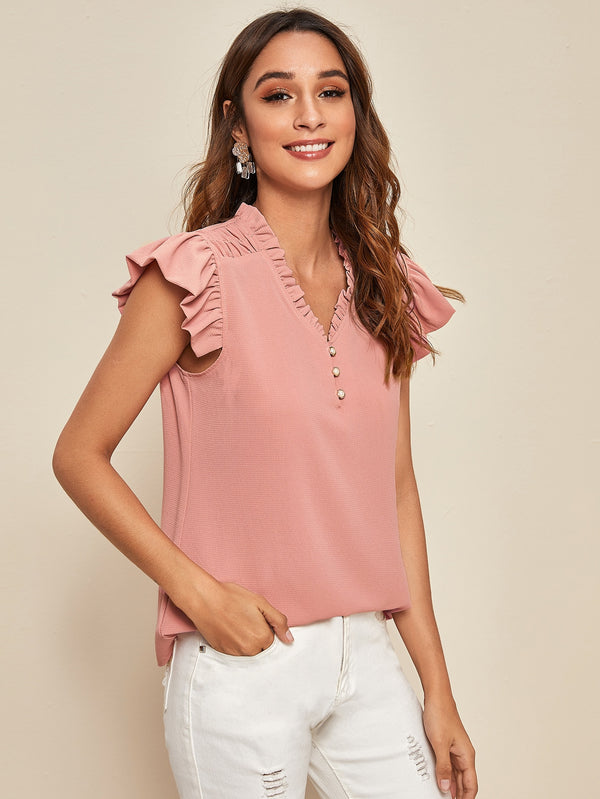 Frill Trim Ruffle Sleeve Solid Blouse