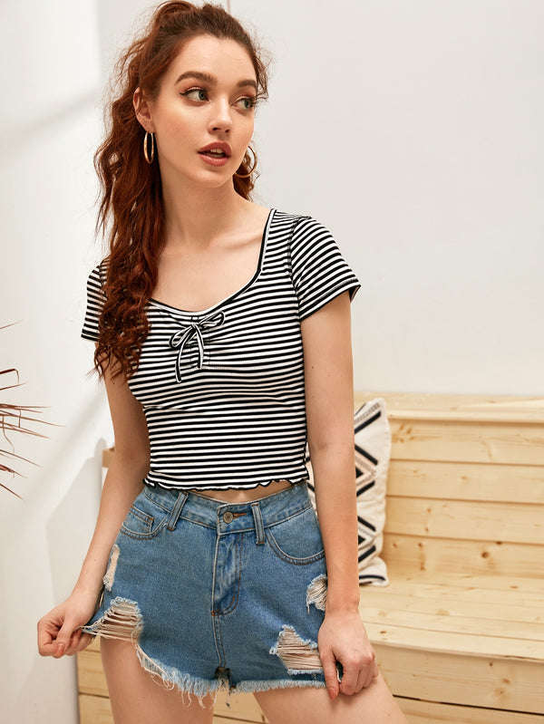 Striped Tie Front Lettuce Trim Tee