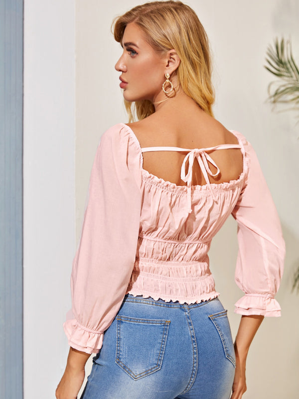 Square Neck Tie Back Ruched Blouse