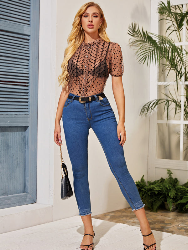 Dobby Mesh Frill Neck Sheer Blouse Without Bra