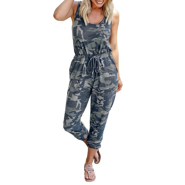 New  Women Camouflage O Neck Sleeveless Off Shoulder Bandage Casual Jumpsuits