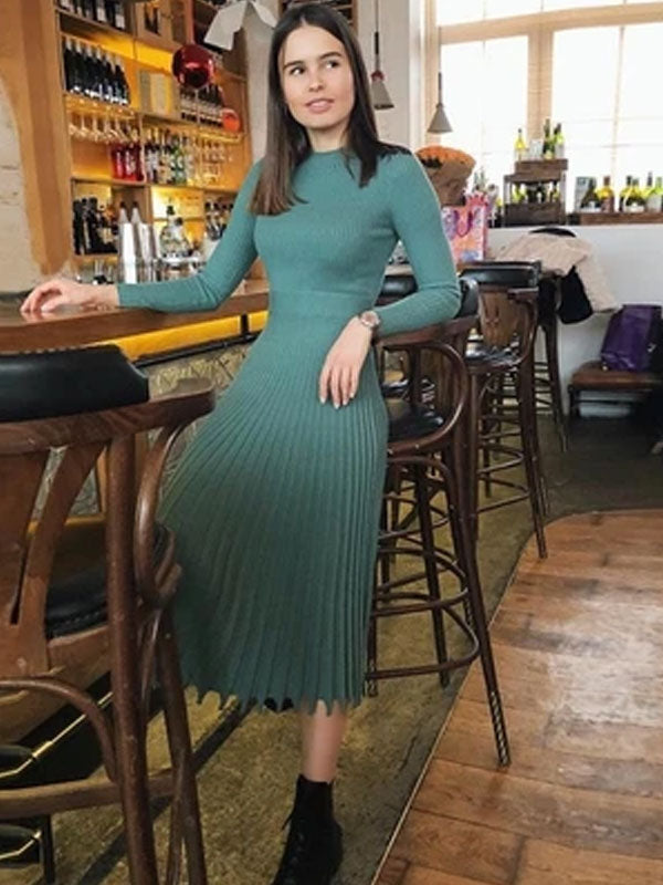 Simplee Solid striped knitted dress Women o neck long sleeve elegant bodycon dress Female color pleated autumn winter sexy dress