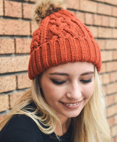 Hip Rust Cable Knit Fur Pom Beanie
