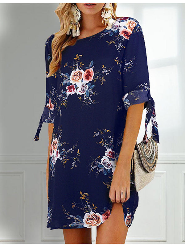Women's Holiday Chiffon Dress - Floral Print Summer Gray Khaki Royal Blue