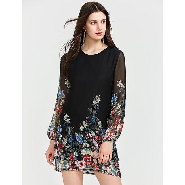 Women's Floral Club Lantern Sleeve Mini Shift Dress - Geometric Lace Summer Silk Black