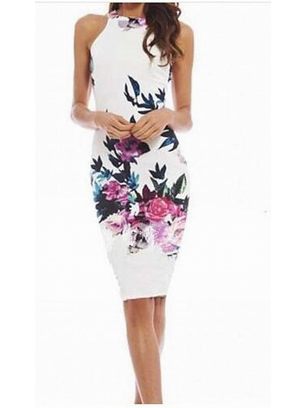 Women's Floral Daily Casual Bodycon Dress - Solid Colored Summer Cotton