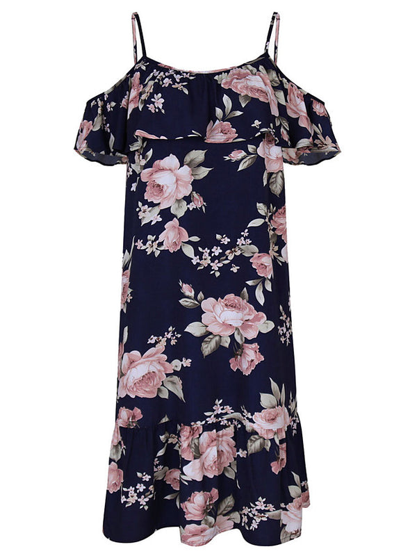 Women's Off Shoulder Going out Beach Street chic Sheath Dress - Floral Print