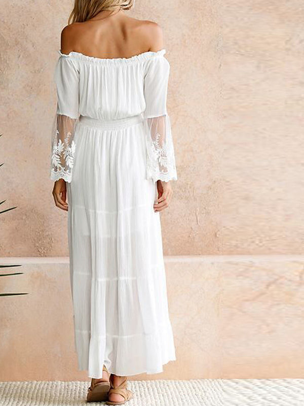 Women's Off Shoulder Party Beach Maxi Swing Sundress - Solid Colored White, Lace Off Shoulder