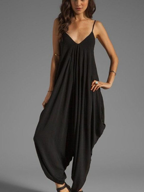 Harem Romper One-piece Jumpsuits Overalls Womens One-piece Playsuits Spaghetti Strap Sexy Deep V-Neck Plus Big Oversize