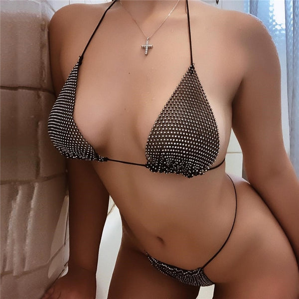 Sexy Hollow Out Rhinestone Sequin Bra Set Women Halter High Cut Two Piece Lingerie Underwear Bra Sets|Bra & Brief Sets