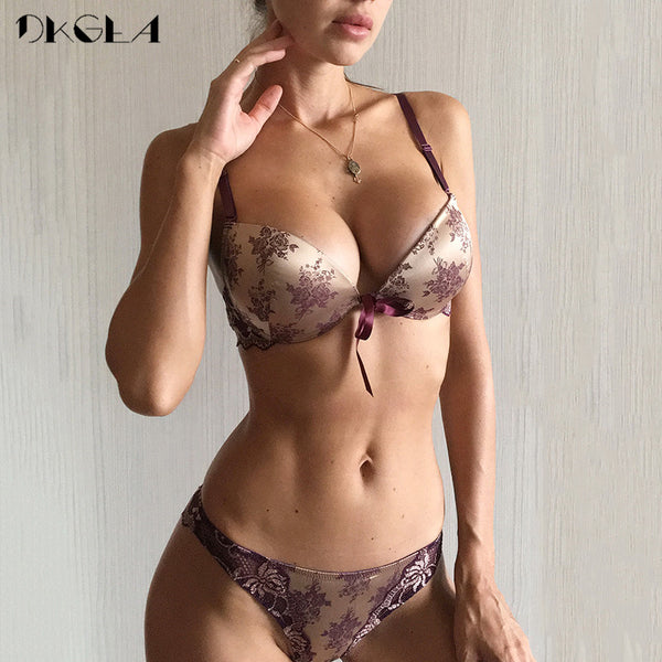 Luxury Printing Underwear Set Women Bow Fashion  Push Up Bra Panties Sets Sexy Lingerie Embroidery Lace Bra Set Cotton Thick|Bra & Brief Sets