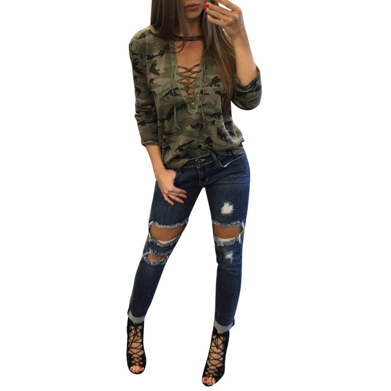 Sexy Womens Tops Lace Up V neck Long Sleeve Camouflage Casual T Shirt T-Shirts