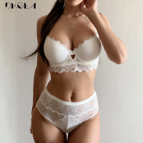 Top Sexy Underwear Set Cotton Thick Embroidery White Push up Bra set A B C Cup Brassiere Gather Comfortable|Bra & Brief Sets