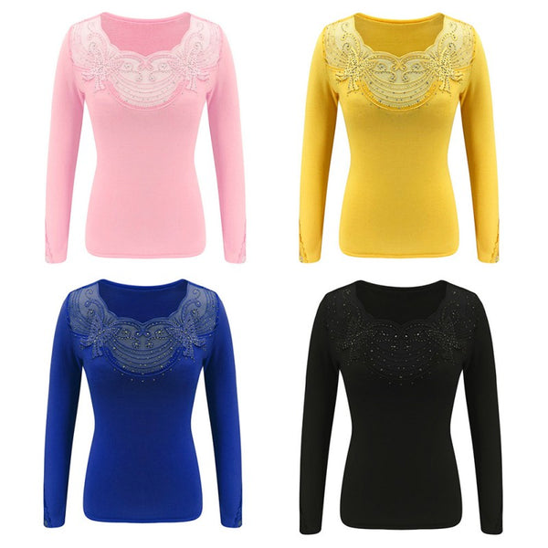 Women T Shirt Sexy features lace hot beads Tee Top Slim Fit T Shirts Womens Fashion Top|T-Shirts
