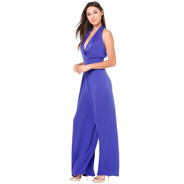 Women's Backless Kentucky Derby Plus Size Party / Beach Deep V Blue Black Purple Wide Leg Jumpsuit, Solid Colored Backless  High Rise Sleeveless Summer / Sexy