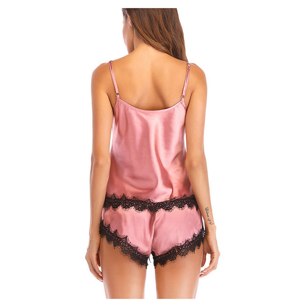 Women's Cotton Deep V Matching Bralettes / Satin & Silk / Suits Pajamas Solid Colored / Color Block / Lace / Sexy