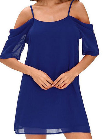 Women's Plus Size Daily Going out Street chic Mini Loose Loose Chiffon Dress - Solid Color Blue, Backless Strap Spring