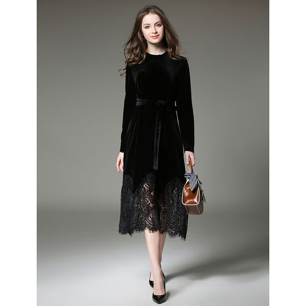 Women's Velvet Daily / Work Sophisticated Slim Lace Dress - Solid Colored Lace Fall Black