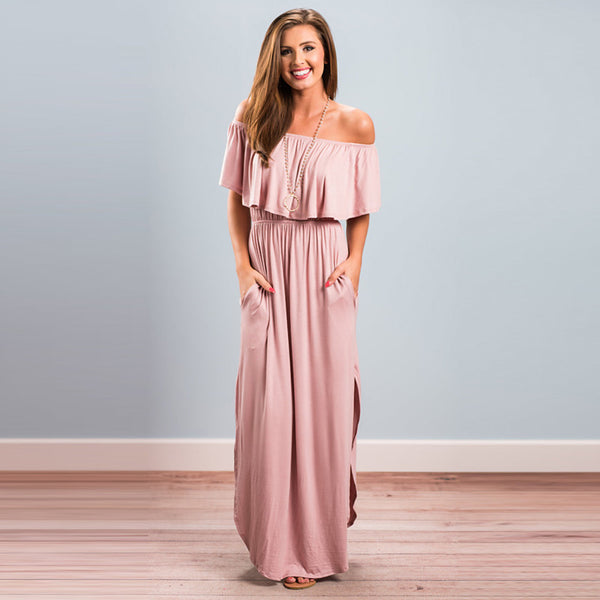 Women's Off Shoulder Daily Work Weekend Street chic Maxi Sheath Dress - Solid Colored Black Dusty Rose Boat Neck