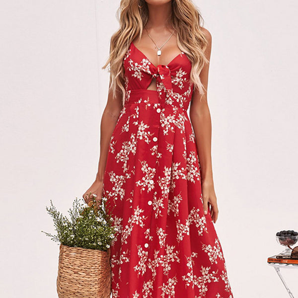 Women's Daily Slim A Line Sundress - Floral Print Strap