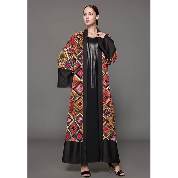 Women's Plus Size Daily Sophisticated Maxi Jalabiya Dress - Geometric Print Spring, Fall, Winter, Summer Orange