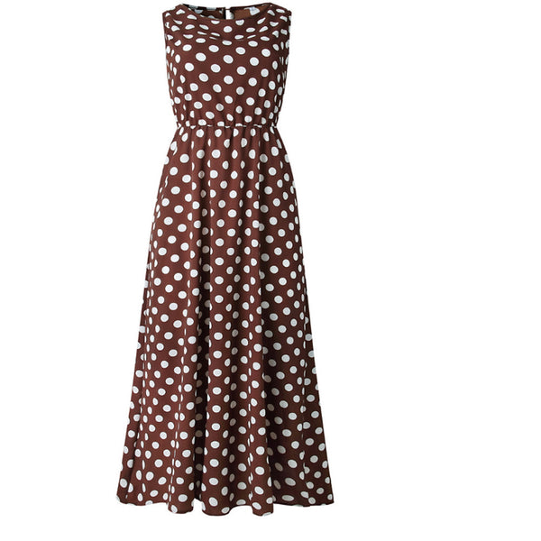 Women's Boho Swing Dress - Polka Dot