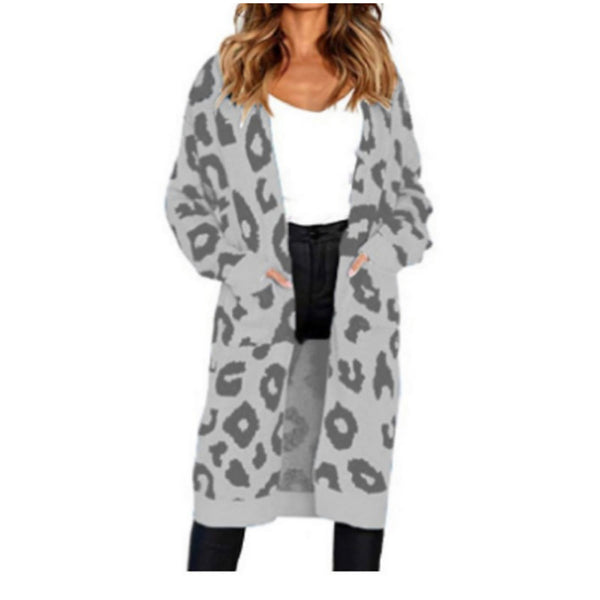 Women's Leopard Long Sleeve Cardigan, Collarless Fall / Winter Blushing Pink / Yellow / Blue