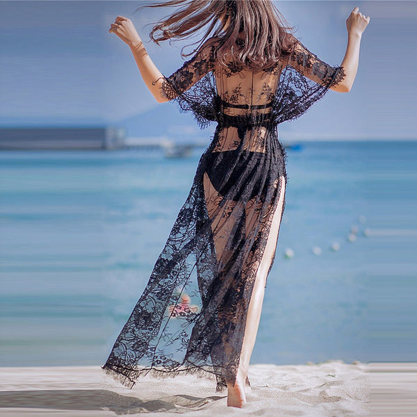 Lace Holiday Beach Maxi Dress - Solid Colored Black, Lace Deep V Summer Cotton Lace White Black One-Size