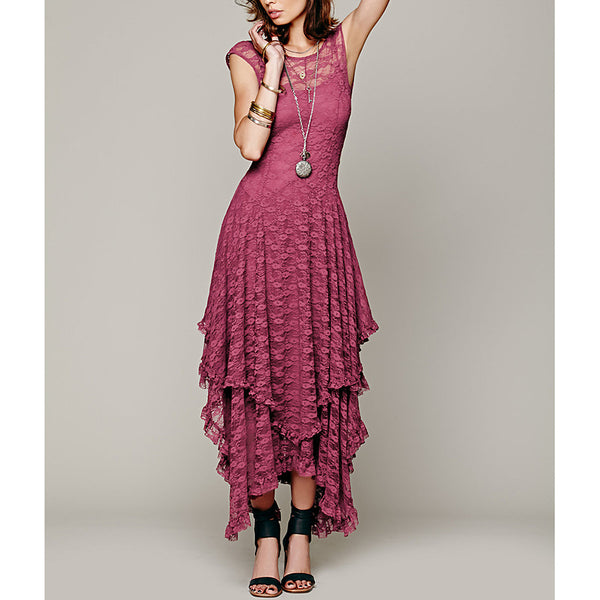 Lace Wrap Dress Asymmetrical Wrap Dress  Strapless Summer Beige Gray Fuchsia