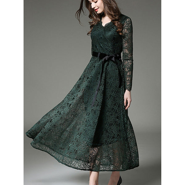 Women's Lace Daily / Going out Street chic Maxi Slim Sheath / Lace Dress - Solid Colored V Neck Spring Green