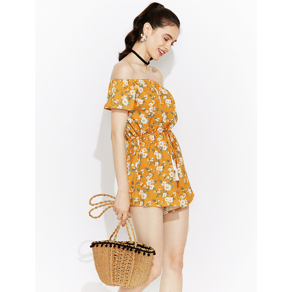 Women's Off Shoulder Daily / Club Boat Neck Red Yellow Romper, Floral Backless  High Rise Short Sleeve Summer Fall