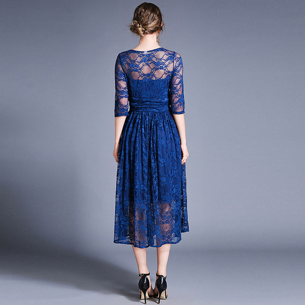Women's Vintage A Line Dress - Solid Colored Lace Cut Out Pleated Blue