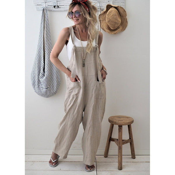 Women's Daily Street chic Strap Black Blushing Pink Beige Wide Leg Loose Jumpsuit, Solid Colored  Sleeveless