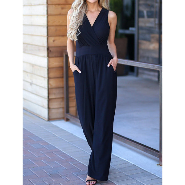 Women's Street chic V Neck Blue Black Wide Leg Jumpsuit, Solid Colored Wide Leg