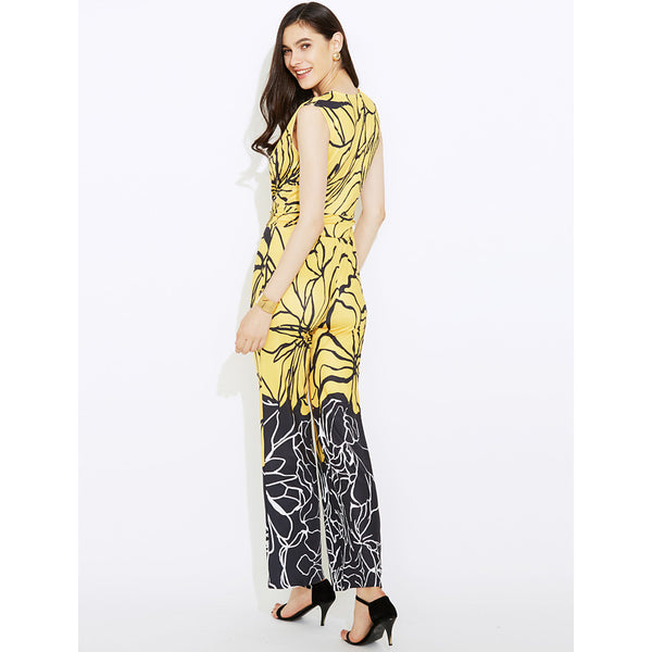 Women's Wide Leg Daily / Going out Boho Deep V Yellow Wide Leg Jumpsuit Print  High Rise Sleeveless Summer Fall