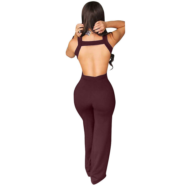 Women's Backless Daily / Club Deep V Blue Wine Wide Leg Jumpsuit, Solid Colored Backless / Cut Out High Rise Sleeveless Summer Fall