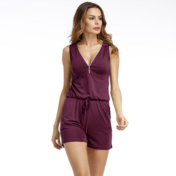 Women's Plus Size Holiday / Going out Active V Neck Black Gray Purple Romper, Solid Color  Sleeveless