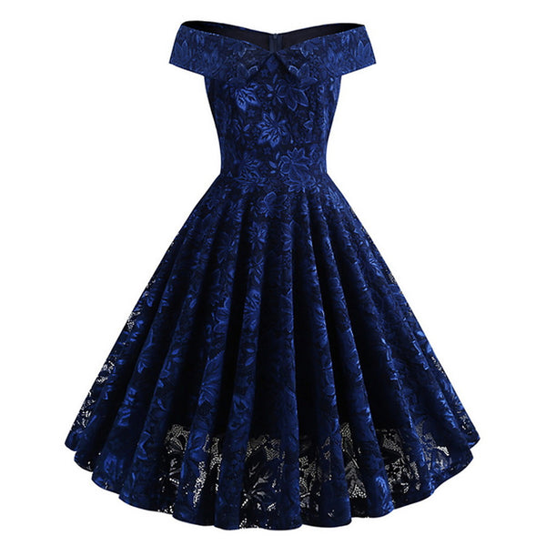 Women's Elegant A Line Dress - Solid Colored Lace Blue Black Wine