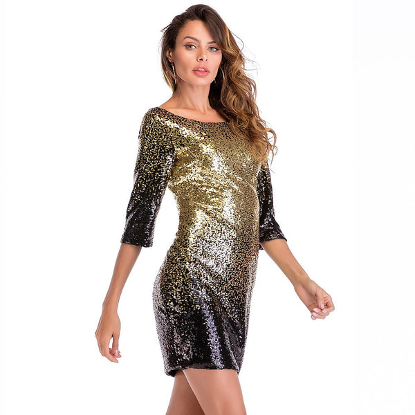 Women's Sequins Club Party / Cocktail New Year Eve Slim Bodycon Dress