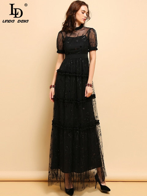 LD LINDA DELLA Fashion Runway Black Long Dress Women's Mesh Sequined Embroidery Vintage Formal Party Dresses Elegant Maxi Dress