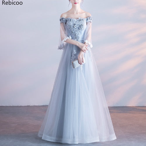 Gorgeous Shoulderless Long Banquet Dresses Tulle Lace Showl Sleeve Appliques Evening Gowns Lace Up Women Prom Party Dress