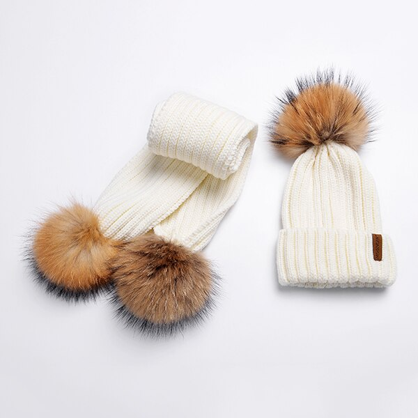Winter Hats And Scarf Set For Women  Fashion high Quality  Knitted Warm Fur  Bonnet