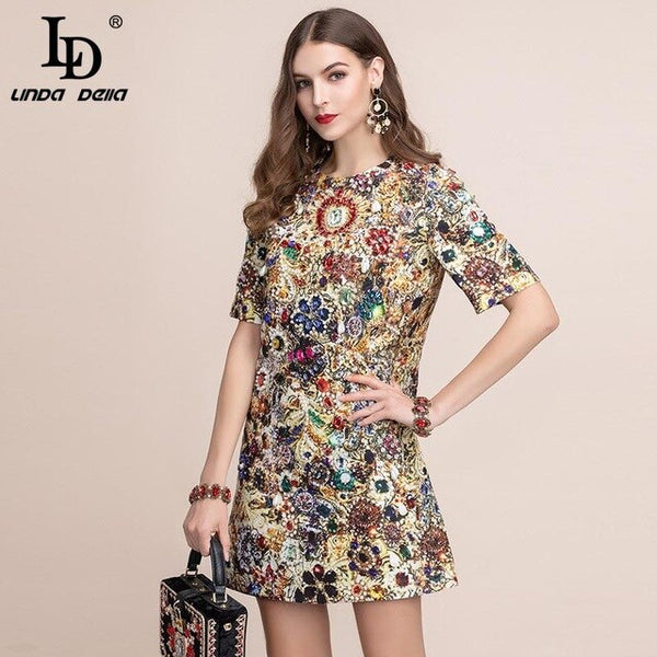 LD LINDA DELLA 2019 Fashion Runway Summer Dress Women's Short Sleeve Gorgeous Crystal Beading Retro Printed A Line Vintage Dress