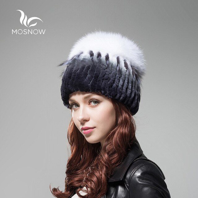 New Women Winter Caps Female Hat Rex Rabbit Fur With Fox Fluffy Top Fashion Woman Hats