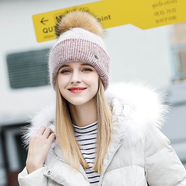 Winter Hats For Women Knitted Wool Fashion New Fur Pompom High Quality  Beanie Skullies Bonnet