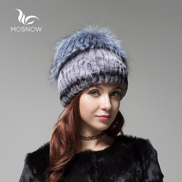 New Winter Women's Hats Rex Rabbit Fur With  Knitted Solid Fashion Winter Bonnet